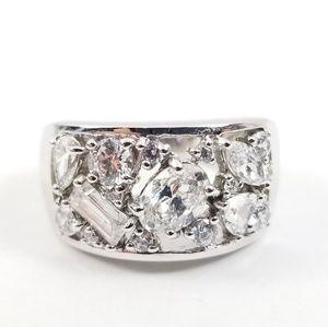 Diamonique Wide Band Platinum & Sterling Ring